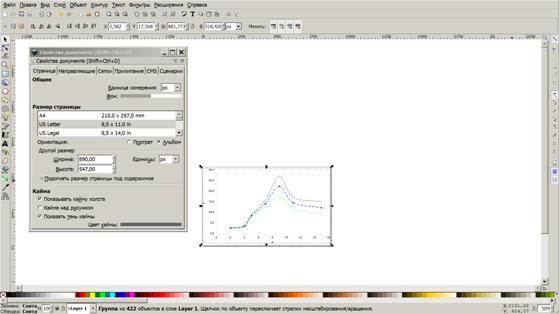 Изображение настройки рабочей области в Inkscape
